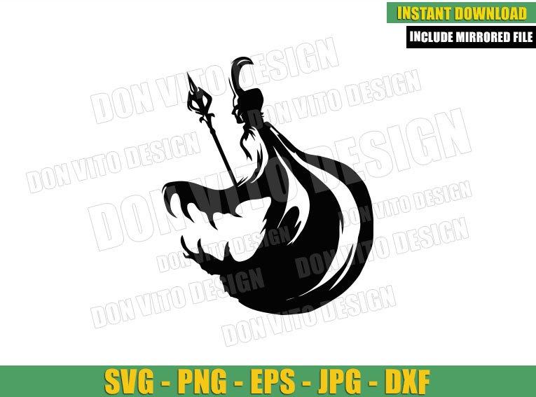 Loki Silhouette Scepter Helmet (SVG dxf png) Disney Tv Series Asgard Cut File Cricut Vector Clipart - Don Vito Design Store