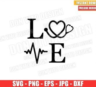 Hospital Love Word (SVG dxf png) Love Nurse Life Stethoscope Heartbeat Cricut Silhouette Vector Clipart - Don Vito Design Store