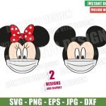 Mickey Minnie Face Mask (SVG dxf png) Disney Head Ears Mouse Covid Cricut Silhouette Vector Clipart T-Shirt 2 Designs Quarantine svg