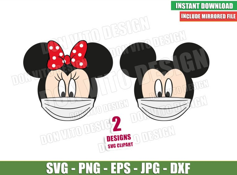 Mickey Minnie Face Mask (SVG dxf png) Disney Head Ears Mouse Covid Cricut Silhouette Vector Clipart - Don Vito Design Store