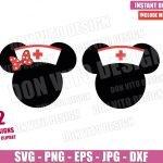 Disney Minnie Nurse Cap (SVG dxf png) Mickey Mouse Head Ears Bow Cricut Silhouette Vector Clipart T-Shirt 2 Designs Nurses Day svg