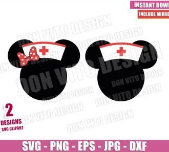 Disney Minnie Nurse Cap (SVG dxf png) Mickey Mouse Head Ears Bow Cricut Silhouette Vector Clipart - Don Vito Design Store