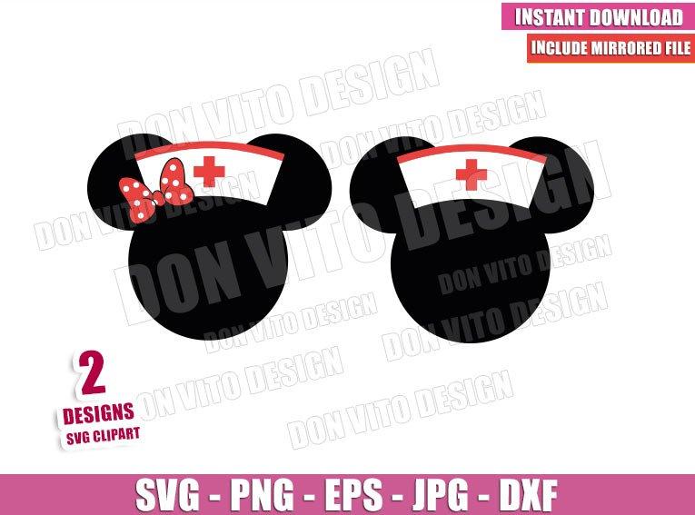 Disney Minnie Nurse Cap (SVG dxf png) Mickey Mouse Head Ears Bow Cricut Silhouette Vector Clipart - Don Vito Design Store