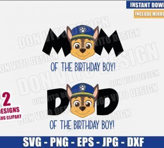 Chase Mom Dad Birthday Boy (SVG dxf png) Paw Patrol Logo Head Cut File Cricut Silhouette Vector Clipart - Don Vito Design Store