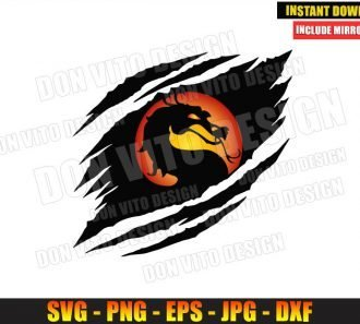 Mortal Kombat Ripped Logo (SVG dxf png) Dragon Video Game Cut File Cricut Silhouette Vector Clipart - Don Vito Design Store