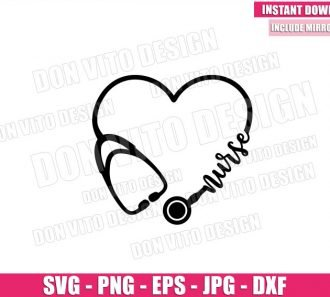 Nurse Heart Stethoscope (SVG dxf png) Hospital Nursing Life Love Cricut Silhouette Vector Clipart - Don Vito Design Store