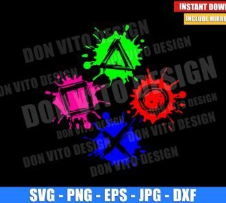 Playstation Button Splash (SVG dxf png) Gamer Splatter Blotch Cut File Cricut Silhouette Vector Clipart - Don Vito Design Store