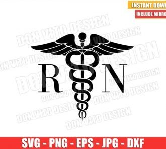 Nurse RN Symbol (SVG dxf png) The Caduceus Nursing Sign Hospital Cricut Silhouette Vector Clipart - Don Vito Design Store