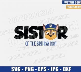 Chase Sister of the Birthday Boy (SVG dxf png) Dog Police Head Logo Cut File Cricut Silhouette Vector Clipart - Don Vito Design Store