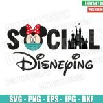 Minnie Mouse Social Disneying (SVG dxf png) Disney Castle Face Mask Covid Cricut Silhouette Vector Clipart T-Shirt Design Quarantine svg