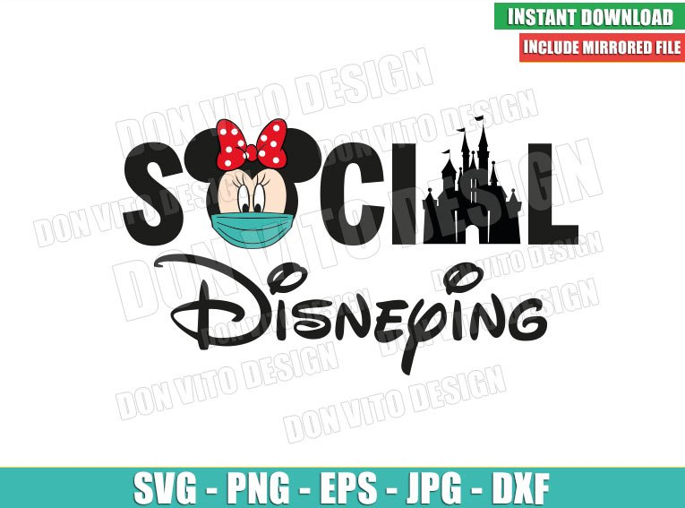 Minnie Mouse Social Disneying (SVG dxf png) Disney Castle Face Mask Covid Cricut Silhouette Vector Clipart - Don Vito Design Store