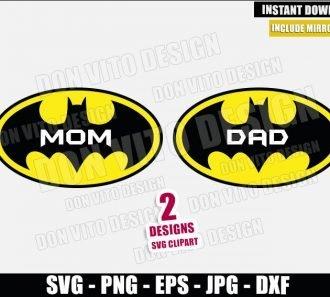 Batman Mom Dad Logo (SVG dxf png) Mommy Daddy Super Hero Cut File Cricut Silhouette Vector Clipart - Don Vito Design Store
