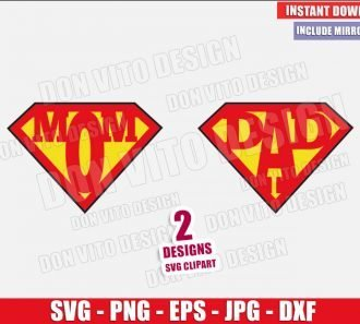 Superman Mom Dad Logo (SVG dxf png) Superhero Mommy Daddy Cut File Cricut Silhouette Vector Clipart - Don Vito Design Store