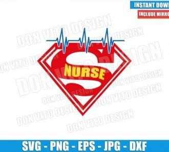 Superman Nurse Heartbeat (SVG dxf png) Super Hero Hospital Nursing Cricut Silhouette Vector Clipart - Don Vito Design Store