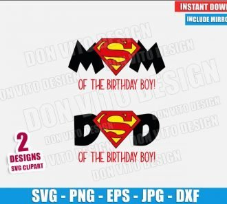 Superman Mom Dad Birthday Boy (SVG dxf png) Mommy Daddy Cut File Cricut Silhouette Vector Clipart - Don Vito Design Store