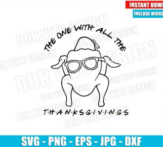 Thanksgivings Monica Turkey Outline (SVG dxf png) The One with All the Friends Logo Cut File Cricut Silhouette Vector Clipart - Don Vito Design Store
