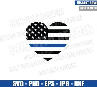 Thin Blue Line Flag Heart (SVG dxf png) Police Officer USA Love America Cut File Cricut Silhouette Vector Clipart - Don Vito Design Store