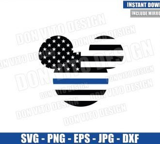 Thin Blue Line Mickey Mouse (SVG dxf png) Disney Head Police Officer USA Flag Cut File Cricut Silhouette Vector Clipart - Don Vito Design Store