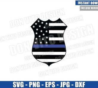 Thin Blue Line Police Badge (SVG dxf png) American US Flag Police Officer Cut File Cricut Silhouette Vector Clipart - Don Vito Design Store
