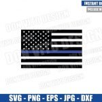 Thin Blue Line American Flag (SVG dxf png) Police Officer USA Bars and Stars Cut File Cricut Silhouette Vector Clipart T-Shirt Design svg