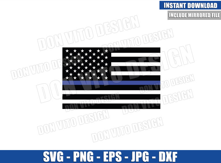 Thin Blue Line American Flag (SVG dxf png) Police Officer USA Bars and Stars Cut File Cricut Silhouette Vector Clipart - Don Vito Design Store