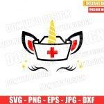 Unicorn Nurse Cap (SVG dxf png) Unicorn Head Ears Eyelashes Horn Cricut Silhouette Vector Clipart T-Shirt Design Nurses Day svg