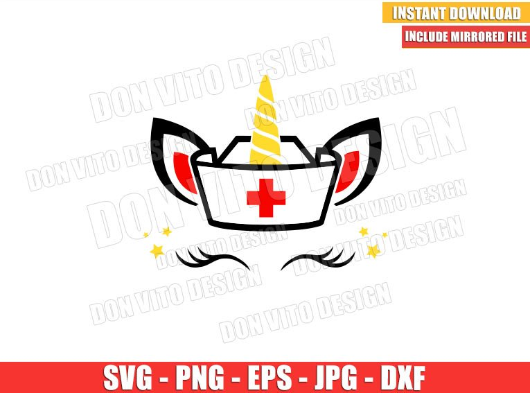 Unicorn Nurse Cap (SVG dxf png) Unicorn Head Ears Eyelashes Horn Cricut Silhouette Vector Clipart - Don Vito Design Store
