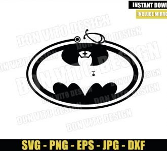 Bat Nurse Logo (SVG dxf png) Batman Nursing Super Hero Hospital Cricut Silhouette Vector Clipart Design Nurses - Don Vito Design Store