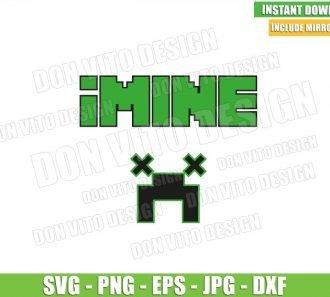 iMine Creep Face (SVG dxf png) Minecraft Game Pixel Art Block Cut File Cricut Silhouette Vector Clipart - Don Vito Design Store