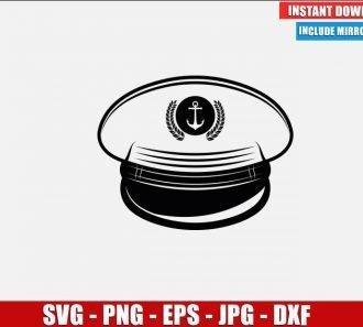 Sea Captain Hat SVG Free Cut File for Cricut Silhouette Freebie Naval Sailor Clipart Vector PNG Image Download Free