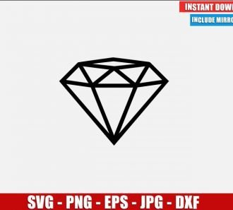 Diamond SVG Free Cut File for Cricut Silhouette Freebie Jewel Gem Clipart Vector PNG Image Download Free