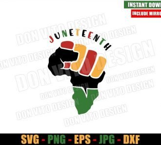 Africa Map Fist Juneteenth (SVG dxf png) Afro Hand Cut File Cricut Silhouette Vector Clipart