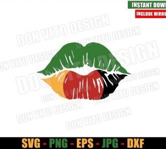 African Lips Kiss (SVG dxf png) Afro Juneteenth Africa Cut File Cricut Silhouette Vector Clipart - Don Vito Design Store