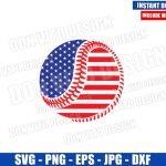 American Flag Baseball Ball (SVG dxf png) USA Patriotic Softball Cut File Cricut Silhouette Vector Clipart T-Shirt Design 4th of July svg