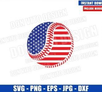 American Flag Baseball Ball (SVG dxf png) USA Patriotic Softball Cut File Cricut Silhouette Vector Clipart - Don Vito Design Store