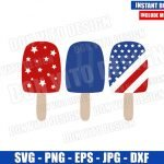 Patriotic USA Popsicle (SVG dxf png) United States Red White and Blue Cut File Cricut Silhouette Vector Clipart Design 4th of July svg
