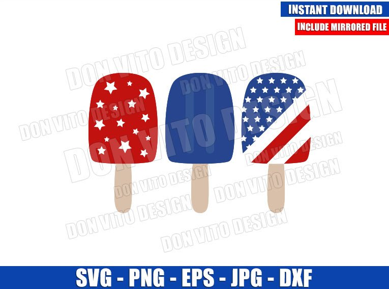 Patriotic USA Popsicle (SVG dxf png) United States Red White and Blue Cut File Cricut Silhouette Vector Clipart - Don Vito Design Store