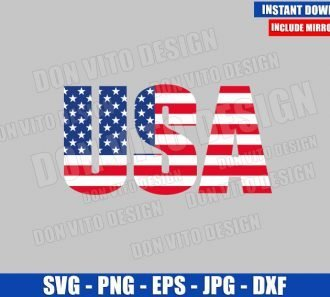 USA Word American Flag (SVG dxf png) Patriotic United States Cut File Cricut Silhouette Vector Clipart