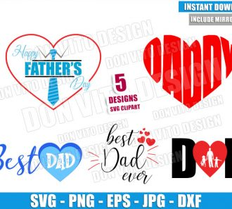 Best Dad Heart Love Bundle (SVG dxf png) Best Daddy Ever Cut File Cricut Silhouette Vector Clipart - Don Vito Design Store