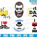 Dad Mustache Bundle (SVG dxf png) Best Daddy Ever Beard Cut File Cricut Silhouette Vector Clipart 6 Designs Happy Father Day svg