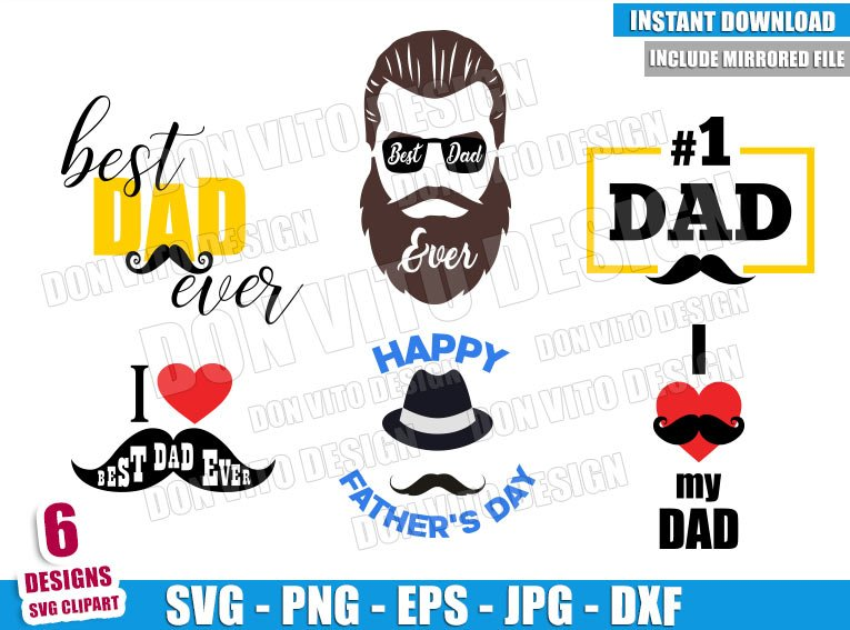 Dad Mustache Bundle (SVG dxf png) Best Daddy Ever Beard Cut File Cricut Silhouette Vector Clipart - Don Vito Design Store