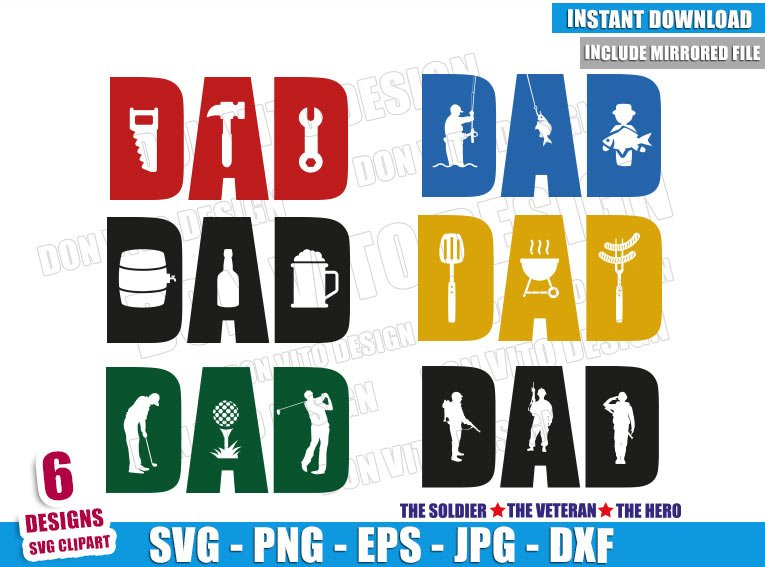 Dad Word Bundle (SVG dxf png) Daddy Tools Fish Beer BBQ Golf Cut File Cricut Silhouette Vector Clipart - Don Vito Design Store