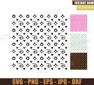 Disney Louis Vuitton Pattern (SVG dxf png) LV Fashion Mickey Mouse Cut File Cricut Silhouette Vector Clipart
