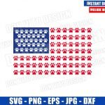 American Flag Paw Print (SVG dxf png) United States Dog Patriotic USA Cut File Cricut Silhouette Vector Clipart Design 4th of July svg