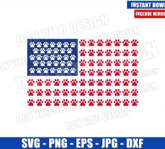American Flag Paw Print (SVG dxf png) United States Dog Patriotic USA Cut File Cricut Silhouette Vector Clipart - Don Vito Design Store