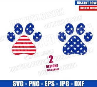 Dog Paw USA Flag (SVG dxf png) United States Patriotic Puppy Paws Cut File Cricut Silhouette Vector Clipart - Don Vito Design Store
