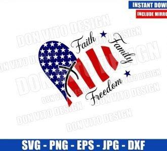 Faith Family Freedom USA (SVG dxf png) Heart American Flag Patriotic Cut File Cricut Silhouette Vector Clipart - Don Vito Design Store