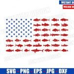 USA Fishing Flag (SVG dxf png) Fish Lover Bass United States America Cut File Cricut Silhouette Vector Clipart Design 4th of July svg
