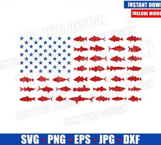 USA Fishing Flag (SVG dxf png) Fish Lover Bass United States America Cut File Cricut Silhouette Vector Clipart - Don Vito Design Store