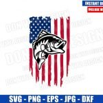 Fishing Distressed USA Flag (SVG dxf png) American United States Fish Cut File Cricut Silhouette Vector Clipart Design 4th of July svg